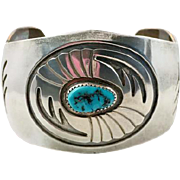 Turquoise Bracelet, Signed, Navajo, Wide Cuff, Sterling Silver, Native American, Cuff Bracelet, Vintage Bracelet, Charles Yazzi, Big, Heavy
