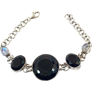 Onyx Bracelet, Moonstone Bracelet, Sterling Silver, Vintage Bracelet, Black Onyx, Linked Bracelet, 925, Links, Big Statement, Large Stones