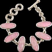 Rose Quartz Bracelet, Pink Stone Bracelet, Sterling Silver, Vintage Bracelet, Linked Bracelet, Chain Bracelet, Quartz Jewelry, Large Stones