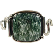 Seraphinite Bracelet, Sterling Silver, Vintage Bracelet, Artisan, Studio Piece, Modern, Contemporary, Unique, Glowing Stone, Green Stone