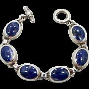 Sodalite Bracelet, Sterling Bracelet, Vintage Jewelry, Mexico, Taxco, Heavy Silver, Links Linked, Bohemian, Blue Stone, Cobalt Blue, Big