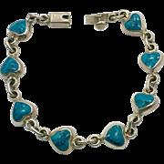 Turquoise Bracelet, Hearts, Sterling Silver, Taxco, Mexico, Links, Linked, Vintage Bracelet, Bohemian, Heart, Southwestern, Boho