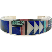 Lapis Cuff, Inlaid Bracelet, Sterling Cuff, Native American, Turquoise, Signed, Navajo, Brian Yazza, Black Onyx, Coral, Spiny Oyster, Inlay