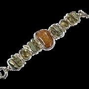 Amber Bracelet, Peridot, Citrine, Sterling Silver, Link Bracelet, Vintage Bracelet, Big Statement, Gemstone, Bohemian, Boho, Wide Bracelet