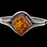Amber Bracelet, Sterling Silver, Hinged Bangle, Vintage Bracelet, Contemporary, Honey Amber, Heavy Silver, Big Statement, Minimalist, Modern