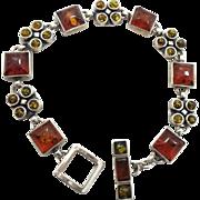 """Amber Bracelet, Sterling Silver, Vintage Bracelet, Green Amber, Honey Amber, 8"""" Long, Modern, Links Linked, Vintage Jewelry, Unusual Unique"""