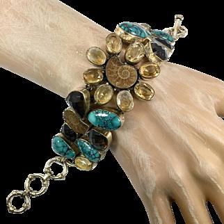 Ammonite Bracelet, Turquoise Bracelet, Sterling Silver, Citrine, Fossil, Big Statement, Multi Stone, Wide, Unique Large, Rustic, Heavy