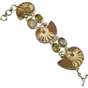 Ammonite Bracelet, Sterling Silver, Citrine, Rutilated Quartz, Fossil, Big Statement, Multi Stone, Brown, Wide, Unique Large, Rustic, Heavy