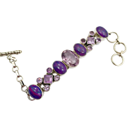 Amethyst Bracelet, Mohave Purple Turquoise, Sterling Silver, Vintage Bracelet, Linked, Purple Jewelry, Multi Stone, Mixed, Big Statement