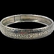 Danecraft Bracelet, Etched Bracelet, Sterling Silver, Repousee Cuff, Floral Cuff, Vintage Bracelet, Sterling, Stacking, Art Nouveau Style