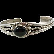 Black Onyx Cuff, Vintage Bracelet, Sterling Silver, Boho Statement, Bohemian, Black Stone, Stacking, Ethnic, Small Wrist, Onyx Bracelet
