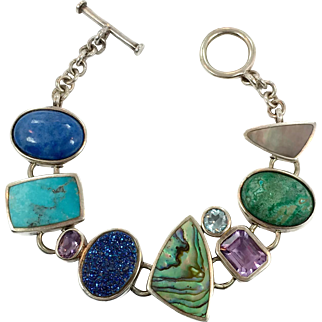 Stone Bracelet, Druzy, Amethyst, Blue Topaz, Turquoise, Lapis, Sterling Silver, Drusy, Vintage Bracelet, Multi Stone, Links Linked, Boho