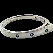 Blue Topaz Bangle, Sterling Silver, Cuff Bracelet, Contemporary, Modern, Vintage Bracelet, Hinged, Blue Stone, Stacking, Faceted Gemstone