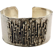 Brutalist Cuff, Sterling Bracelet, Vintage Cuff, Sterling Silver, Modern, Contemporary, Organic, OOAK, Handcrafted, Retro, Wide Cuff