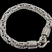 """Byzantine Chain, Thick Bracelet, Bali Bracelet, Sterling Silver, Vintage Bracelet, 6 mm, 7 1/2"""" long, Heavy Silver, Quality, 925"""
