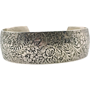 Sterling Floral Cuff, Etched Cuff, Sterling Silver, Vintage Bracelet, Signed, WEH Sterling, Sterling Cuff, Stacking, Art Nouveau Style