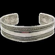 Sterling Silver Cuff, Vintage Bracelet, Cuff Bracelet, Sterling Cuff, Boho Style, Stacking, Braided Trim, 925, Unisex, Mens Bracelet