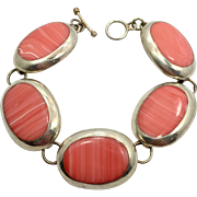 Sterling Bracelet, Vintage Silver, Big Links, Peach Orange, Mexico, Boho, Bohemian, Large Ovals, Faux Spiny Oyster, Linked