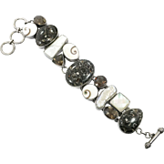 Fossil Bracelet, Turritella Agate, Smoky Quartz, Sterling Silver, Shiva Shell, MOP, Massive, Wide, Heavy, Statement Bracelet, Links, Linked
