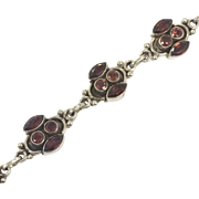 Red Garnet Bracelet, Gemstone Bracelet, Sterling Silver, Vintage Bracelet, Faceted Stones, Links Linked, Tennis Bracelet, Vintage Jewelry