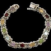 Gemstone Bracelet, Multi GemStone, Peridot Citrine, Garnet, Amethyst, Blue Topaz, Sterling Silver, Vintage Bracelet, Mixed Stones, Link