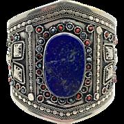 Lapis Bracelet, Silver, Wide Cuff, Turkmen, Kuchi Jewelry, Vintage Bracelet, Gypsy, Big Statement, Bohemian, Ethnic Tribal, Large, Boho
