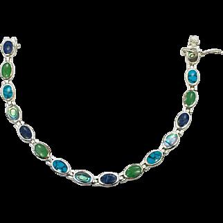 Turquoise Bracelet, Lapis, Abalone Shell, Sterling Silver, Vintage Bracelet, Mixed Stones, Multi Stones, Links, Linked, Vintage Jewelry