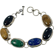 Stone Bracelet, Sterling Silver, Lapis, Malachite, Onyx, Tiger Eye, Multi-Stone, Vintage, Sterling Bracelet, Green, Blue Black, Linked