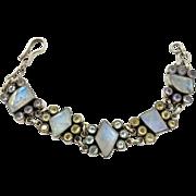 Moonstone Bracelet, Sterling Silver, Vintage Bracelet, Blue Topaz, Citrine, Linked Bracelet, Gemstone Bracelet, Vintage Moonstone, Links
