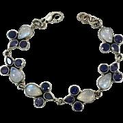 Moonstone Bracelet, Iolite Stone, Sterling Silver, Vintage Bracelet, Linked Bracelet, Blue Moonstones, Vintage Moonstone, Glowing, Links