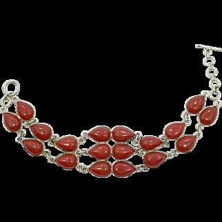 Red Bracelet, Sterling Bracelet, Red Glass, Vintage Jewelry, Links, Linked Bracelet, Station, Vintage Bracelet, Vintage Silver, Big, Large