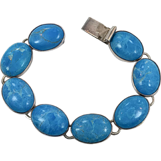 Turquoise Bracelet, Sterling Silver, Big Stones, Links, Linked, Vintage Bracelet, 925 Silver, Bohemian, Southwestern, Layer, Stack, Boho