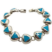 Turquoise Bracelet, Sterling Silver, Vintage Bracelet, Mexico,Triangle Links, Linked Bracelet, Vintage Turquoise, Bohemian, Southwestern