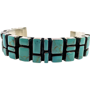 Turquoise Cuff, Sterling Silver, Vintage Bracelet, Cuff Bracelet, Huge, Modern, Contemporary, Heavy Silver, Southwestern, Wide, Large, Big
