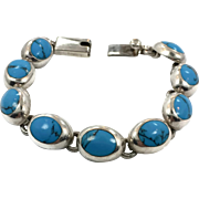 Turquoise Bracelet, Sterling Silver, Vintage Bracelet, Taxco, Mexico, 925 Bracelet, Linked, Silver, Bohemian, Southwestern, Country Western
