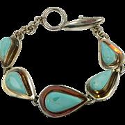 Turquoise Bracelet, Sterling Silver, Mexico, Vintage Bracelet, Links Linked, Vintage Jewelry, Boho Statement, Robins Egg Blue, Heavy Silver