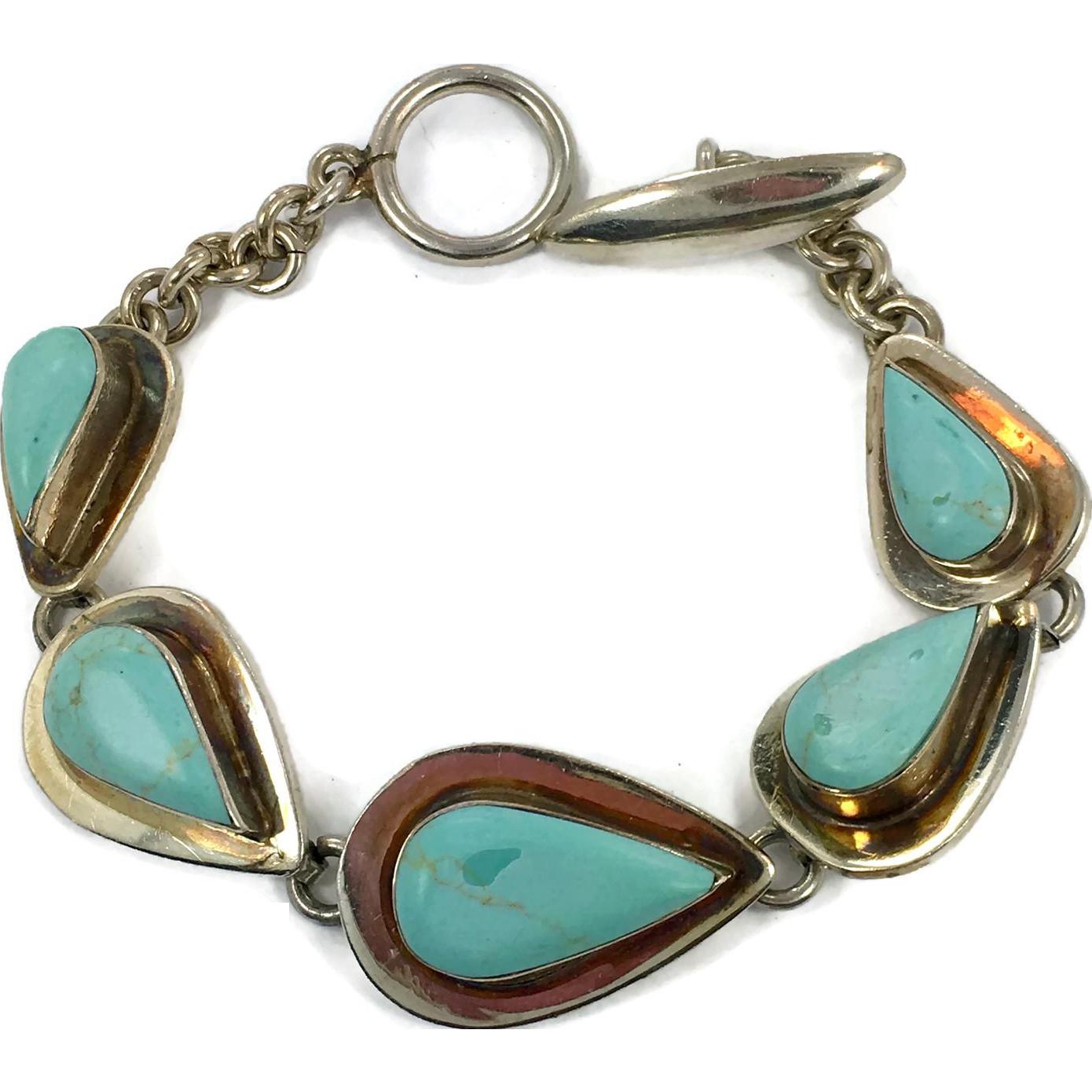 turquoise bracelet sterling silver mexico vintage. Black Bedroom Furniture Sets. Home Design Ideas