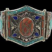Turquoise Bracelet,Tibet, Coral Inlay, Lapis, Nepal Jewelry, Vintage Bracelet, Big, Tibetan Silver, Boho, Tribal Ethnic, Large, Huge