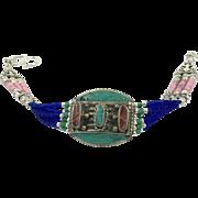 Turquoise Bracelet, Coral Inlay, Cobalt Blue, Nepal Jewelry, Vintage Bracelet, Tibetan Silver, Rainbow, Boho, Tribal Ethnic, Mixed Beads