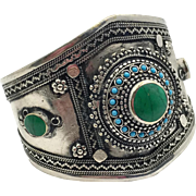 Kuchi Bracelet, Afghan Jewelry, Silver Cuff, Vintage Turkmen, Mixed Metal, Green Stone, Big, Wide, Afghan, Ethnic Tribal, Large Boho, #1