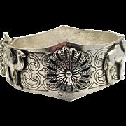 Egyptian Bracelet, Hamsa Hand, Vintage Bangle, Camels, Etched Bracelet, Ethnic, Hinged Cuff, Ornate, Boho Jewelry, Festival Jewelry