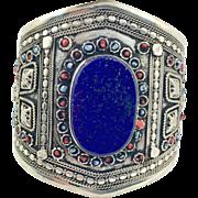 Lapis Bracelet, Silver, Wide Cuff, Vintage Bracelet, Turkmen, Kuchi Jewelry, Gypsy, Big Statement, Bohemian, Ethnic Tribal, Large, Boho