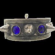 Spiked Bracelet, Silver Bracelet, Kuchi Afghan, Ethnic Tribal, Vintage Bracelet, Blue Jewels, Turkoman, Boho Statement, Bohemian