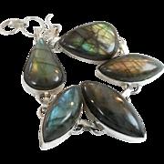 Labradorite Bracelet, Large Stones, Sterling Silver Plated, Vintage Bracelet, Rainbow, Peacock Shades, Boho Statement, Links Linked, Big