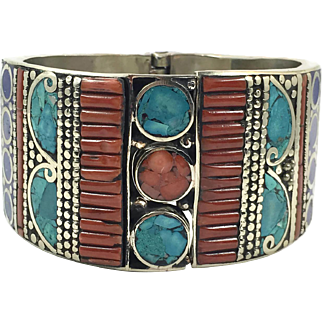 Turquoise Bracelet, Lapis, Tibet, Coral Inlay, Vintage Bracelet, Hinged Cuff, Bangle, Nepal Jewelry, Big, Tibetan Silver, Boho, Large, Huge