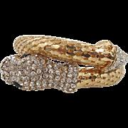 Snake Bracelet, Gold Mesh, Vintage Jewelry, Rhinestone, Unique, Exotic Egyptian, Wrap Bangle, Wide, Boho Gothic, Belly Dance