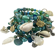 Mermaid Bracelet, Turquoise Bracelet, Wrap Bracelet, Charm Bracelet, Massive, Huge OOAK, Artisan, Sea Shell, Ocean, Beach, Cruise, Beaded