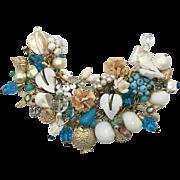 Mermaid Bracelet, Charm Bracelet, Massive, Huge, Pair, Aqua, Turquoise, Mixed Metal, Silver, Gold, Artisan, Sea Shell, Ocean, Beach Jewelry