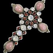 Moonstone Pendant, Cross, Pink Opal, Garnet, Sterling Silver, Nicky Butler, Designer, Vintage Pendant, Big, Large, Mixed Stones, Gemstones