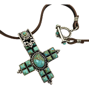 Turquoise Cross, Sterling Silver, Vintage Cross, Leather Necklace, Vintage Pendant, Country Western, Southwestern, Christian, Boho Jewelry